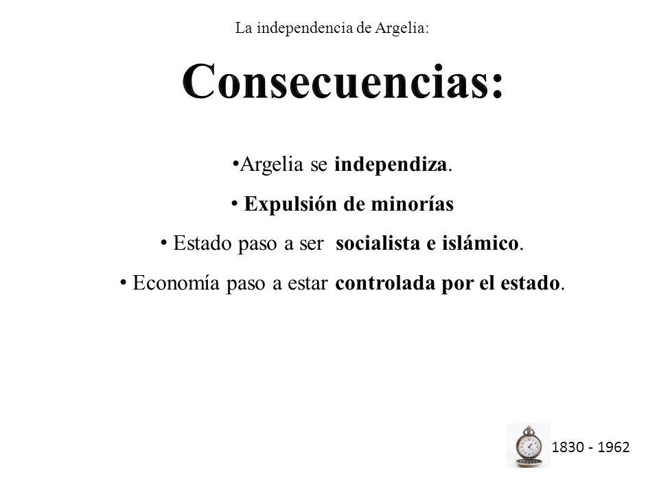 1830 - 1962 Argelia se independiza. Expulsión de minorías Estado paso a ser socialista e islámico. Economía paso a estar controlada por el estado. La