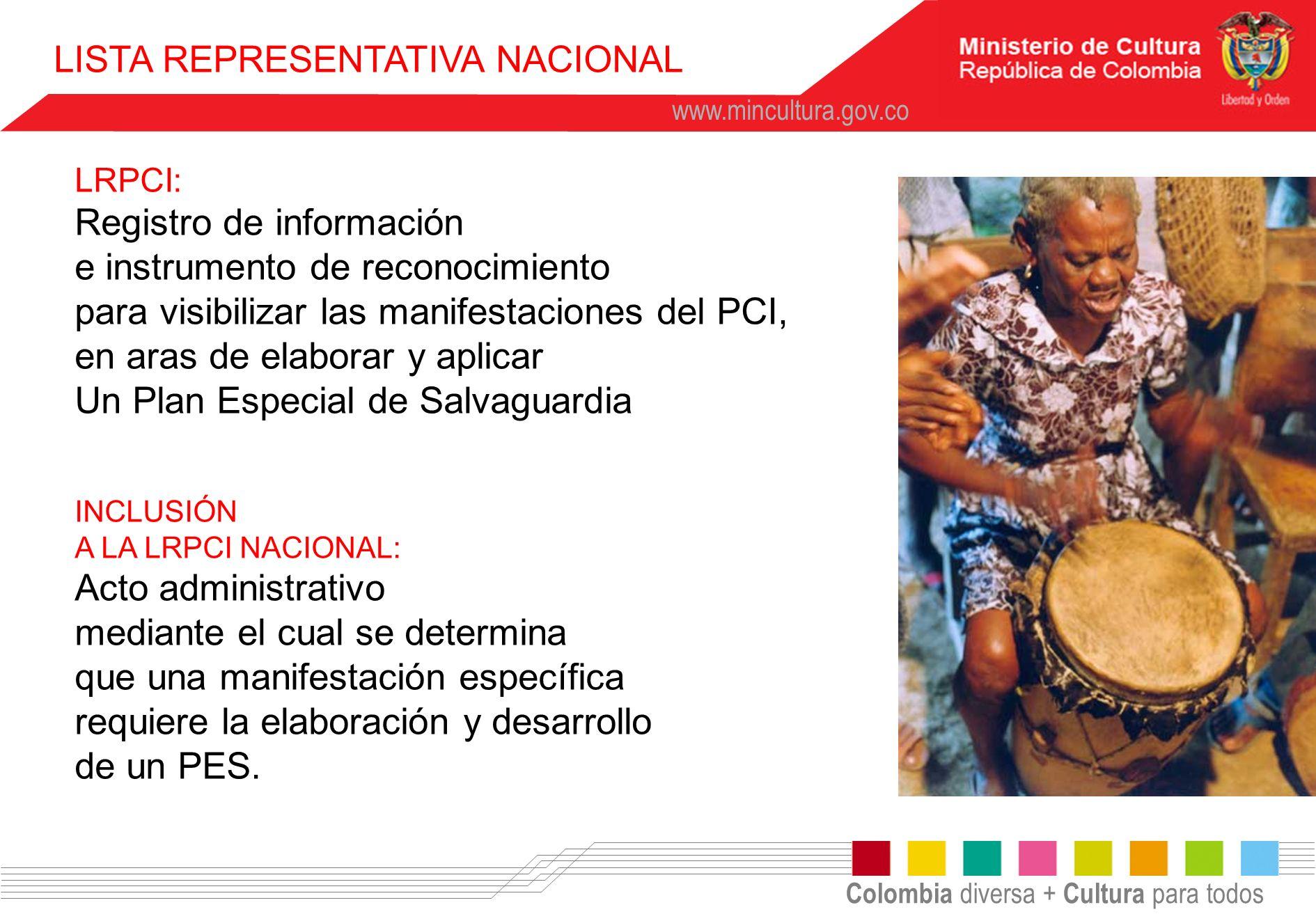 Colombia diversa + Cultura para todos www.mincultura.gov.co LRPCI: Registro de información e instrumento de reconocimiento para visibilizar las manife