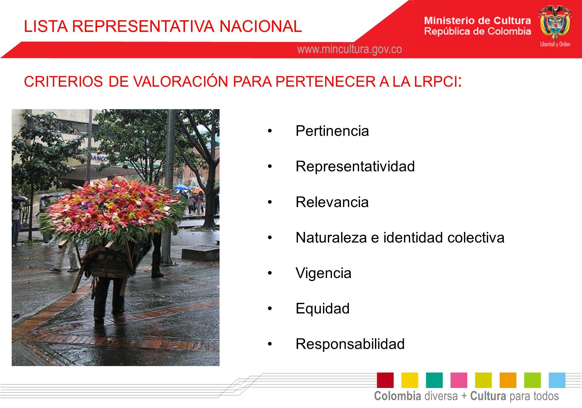 Colombia diversa + Cultura para todos www.mincultura.gov.co Pertinencia Representatividad Relevancia Naturaleza e identidad colectiva Vigencia Equidad