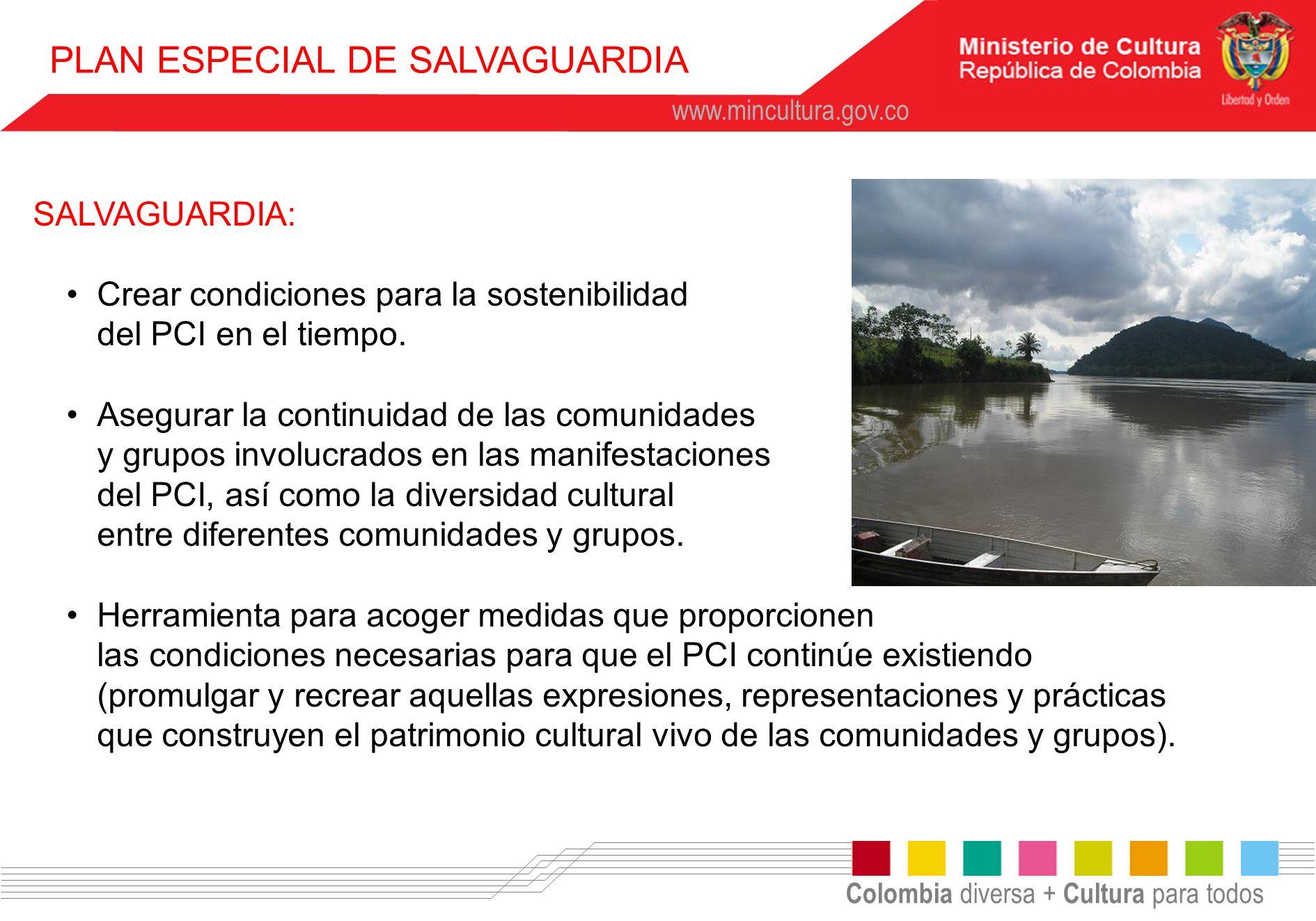 Colombia diversa + Cultura para todos www.mincultura.gov.co PLAN ESPECIAL DE SALVAGUARDIA SALVAGUARDIA: Crear condiciones para la sostenibilidad del P