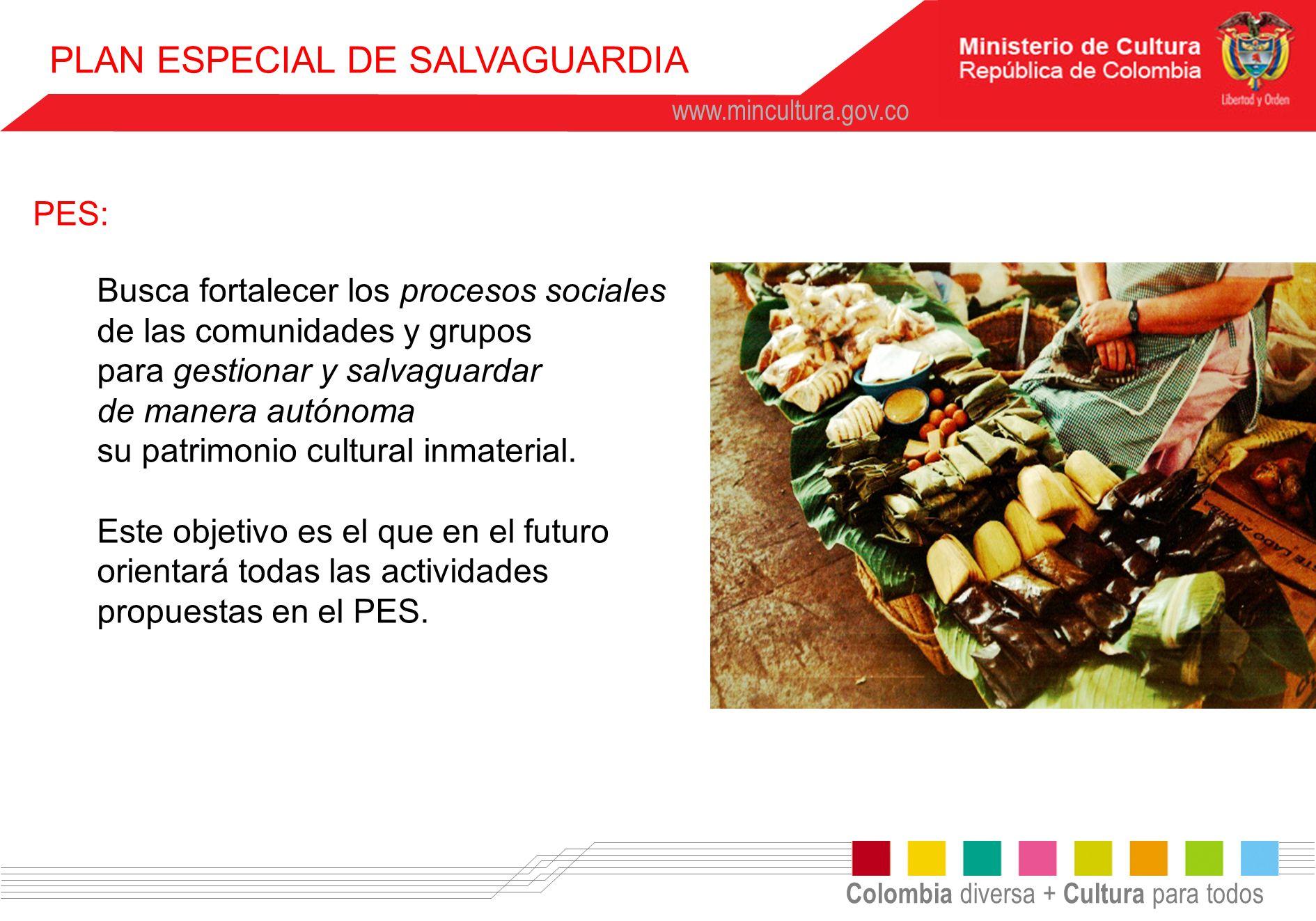 Colombia diversa + Cultura para todos www.mincultura.gov.co PLAN ESPECIAL DE SALVAGUARDIA PES: Busca fortalecer los procesos sociales de las comunidad