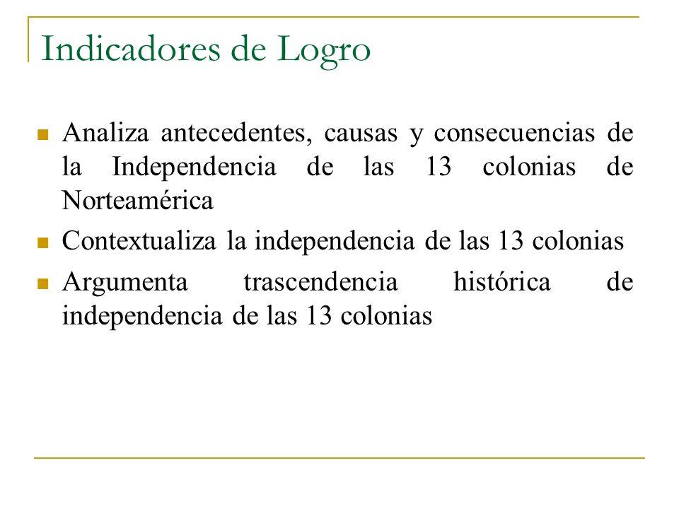 Indicadores de Logro Analiza antecedentes, causas y consecuencias de la Independencia de las 13 colonias de Norteamérica Contextualiza la independenci