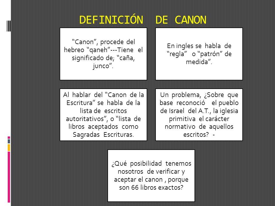 DEFINICIÓN DE CANON Canon, procede del hebreo qaneh---Tiene el significado de; caña, junco. En ingles se habla de regla o patrón de medida. Al hablar