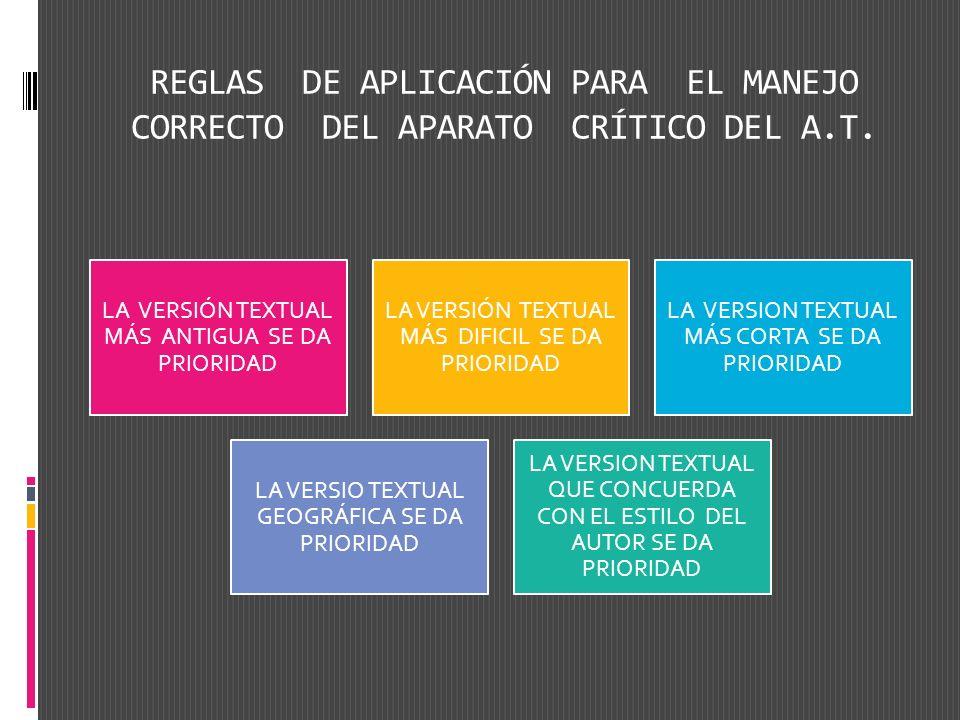 REGLAS DE APLICACIÓN PARA EL MANEJO CORRECTO DEL APARATO CRÍTICO DEL A.T. LA VERSIÓN TEXTUAL MÁS ANTIGUA SE DA PRIORIDAD LA VERSIÓN TEXTUAL MÁS DIFICI