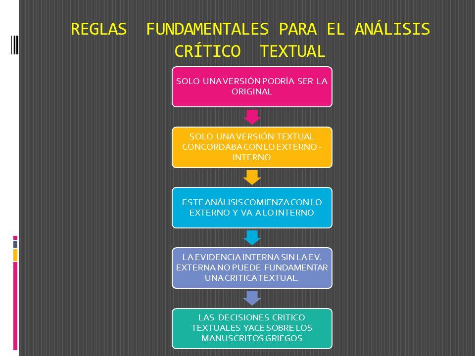 REGLAS FUNDAMENTALES PARA EL ANÁLISIS CRÍTICO TEXTUAL SOLO UNA VERSIÓN PODRÍA SER LA ORIGINAL SOLO UNA VERSIÓN TEXTUAL CONCORDABA CON LO EXTERNO - INT