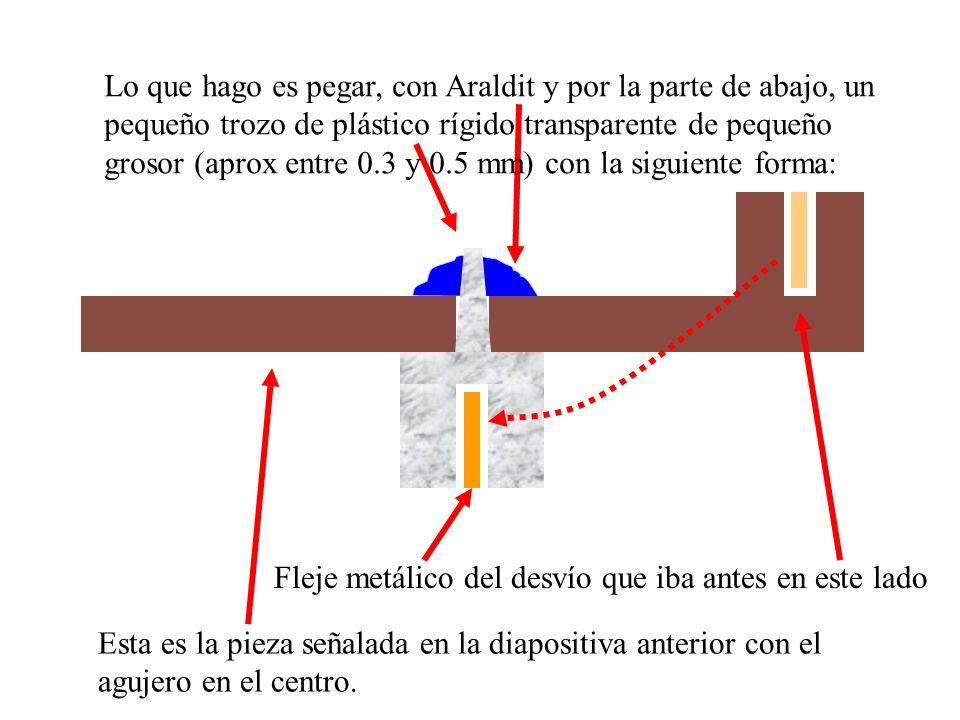 Lo que hago es pegar, con Araldit y por la parte de abajo, un pequeño trozo de plástico rígido transparente de pequeño grosor (aprox entre 0.3 y 0.5 mm) con la siguiente forma: Esta es la pieza señalada en la diapositiva anterior con el agujero en el centro.