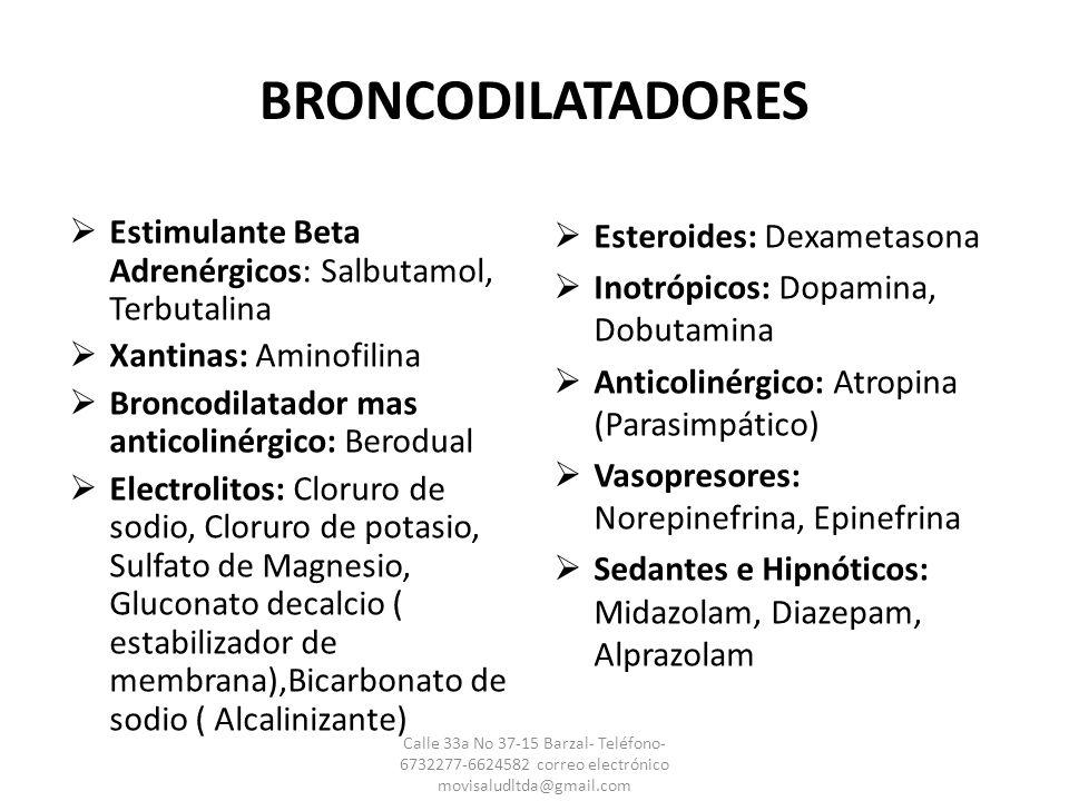 BRONCODILATADORES Estimulante Beta Adrenérgicos: Salbutamol, Terbutalina Xantinas: Aminofilina Broncodilatador mas anticolinérgico: Berodual Electroli