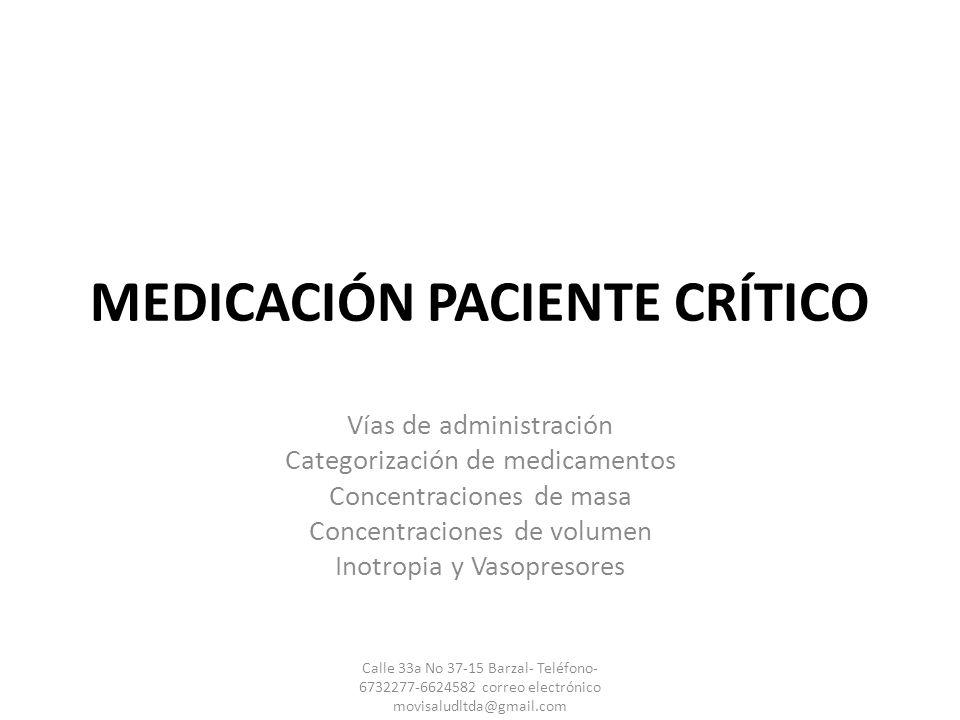 MEDICACIÓN PACIENTE CRÍTICO Vías de administración Categorización de medicamentos Concentraciones de masa Concentraciones de volumen Inotropia y Vasop