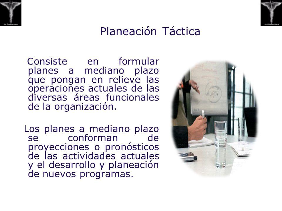 Planeación Táctica Consiste en formular planes a mediano plazo que pongan en relieve las operaciones actuales de las diversas áreas funcionales de la