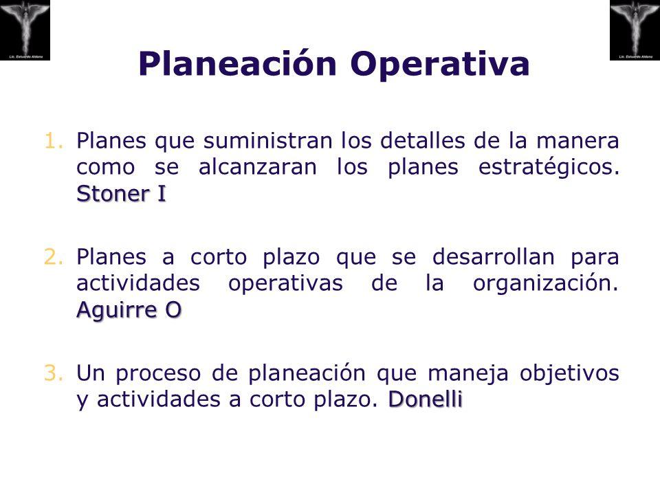 Planeación Operativa Stoner I 1.Planes que suministran los detalles de la manera como se alcanzaran los planes estratégicos. Stoner I Aguirre O 2.Plan