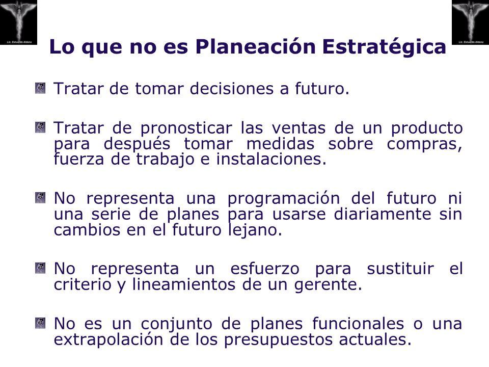 Lo que no es Planeación Estratégica Tratar de tomar decisiones a futuro. Tratar de pronosticar las ventas de un producto para después tomar medidas so