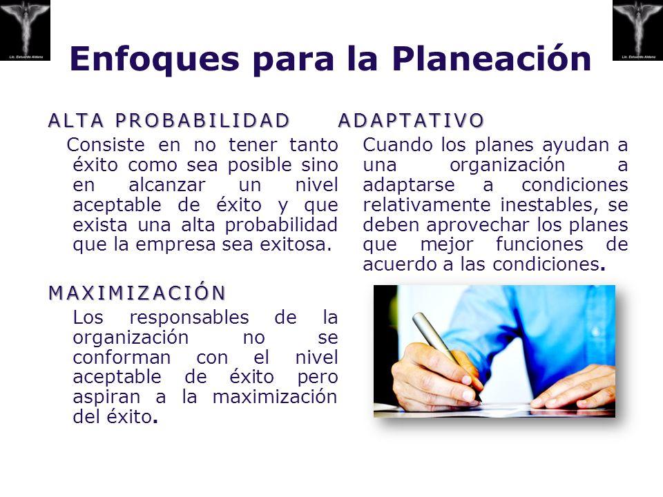 Enfoques para la Planeación ALTA PROBABILIDAD Consiste en no tener tanto éxito como sea posible sino en alcanzar un nivel aceptable de éxito y que exi