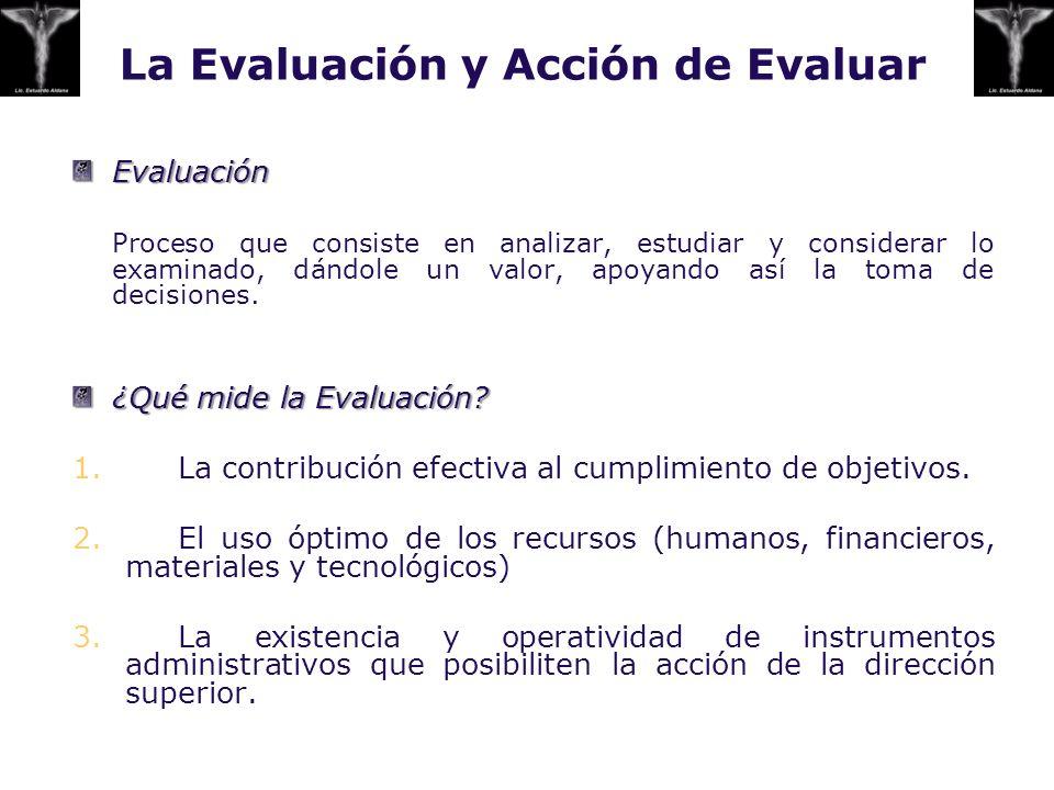 La Evaluación y Acción de Evaluar Evaluación Proceso que consiste en analizar, estudiar y considerar lo examinado, dándole un valor, apoyando así la t
