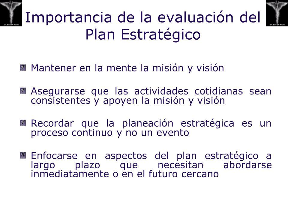 Importancia de la evaluación del Plan Estratégico Mantener en la mente la misión y visión Asegurarse que las actividades cotidianas sean consistentes
