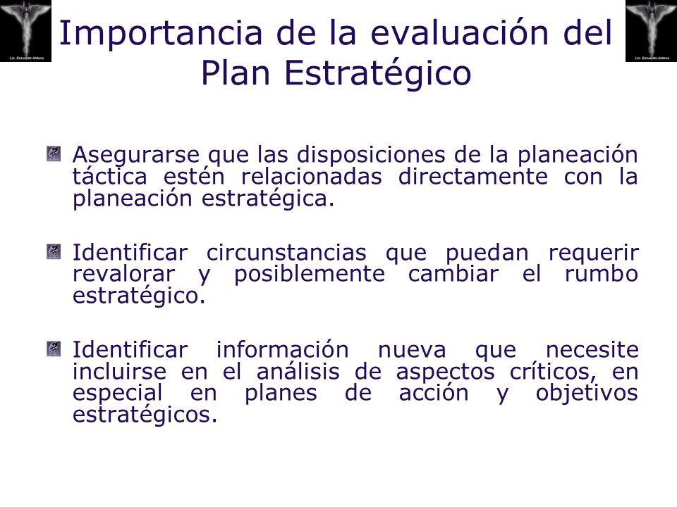 Asegurarse que las disposiciones de la planeación táctica estén relacionadas directamente con la planeación estratégica. Identificar circunstancias qu
