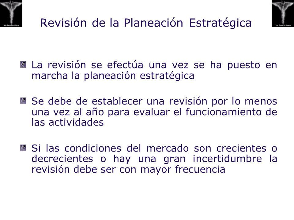 Revisión de la Planeación Estratégica La revisión se efectúa una vez se ha puesto en marcha la planeación estratégica Se debe de establecer una revisi