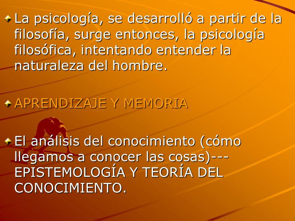 La psicología, se desarrolló a partir de la filosofía, surge entonces, la psicología filosófica, intentando entender la naturaleza del hombre. APRENDI