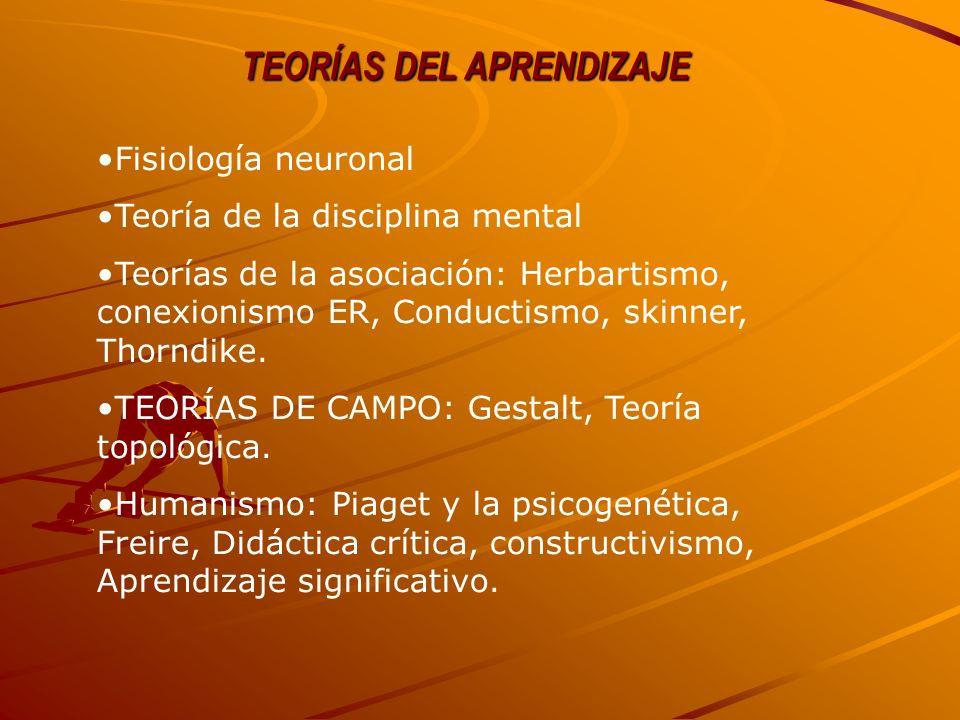 TEORÍAS DEL APRENDIZAJE Fisiología neuronal Teoría de la disciplina mental Teorías de la asociación: Herbartismo, conexionismo ER, Conductismo, skinne