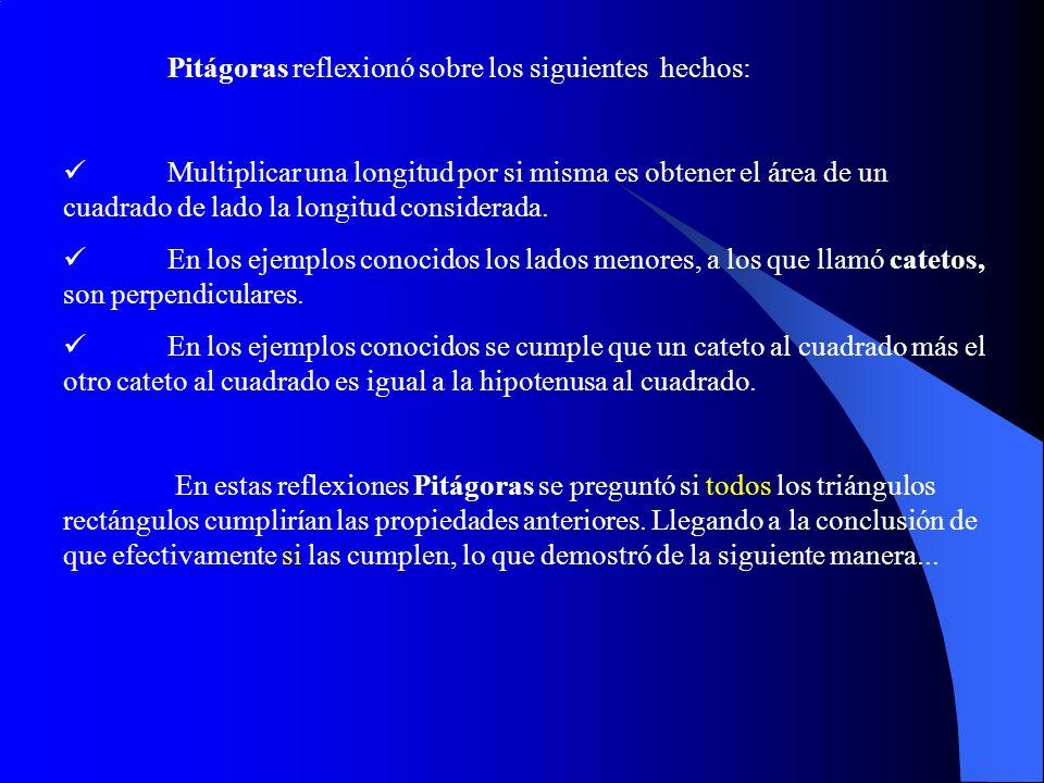 Pitágoras reflexionó sobre los siguientes hechos: Multiplicar una longitud por si misma es obtener el área de un cuadrado de lado la longitud considerada.