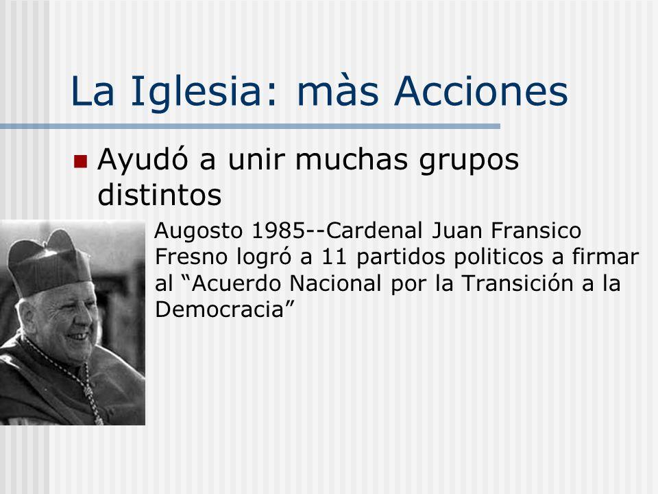 La Iglesia: Acciones Comité ProPaz Se formó por Cardenal Raúl Silva Henriquez Documentó Violaciones de los Derechos Humanos Ayuda legal para las vícti