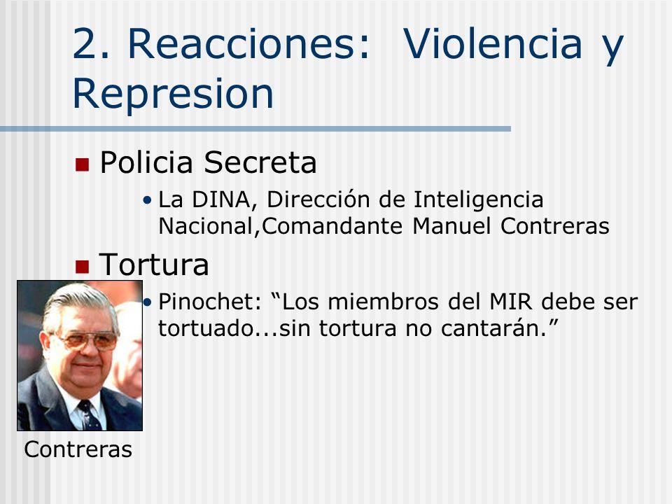 2. Reacciones del Gobierno a la oposición La Violencia La Represión Éxito económico Engaños Electorales