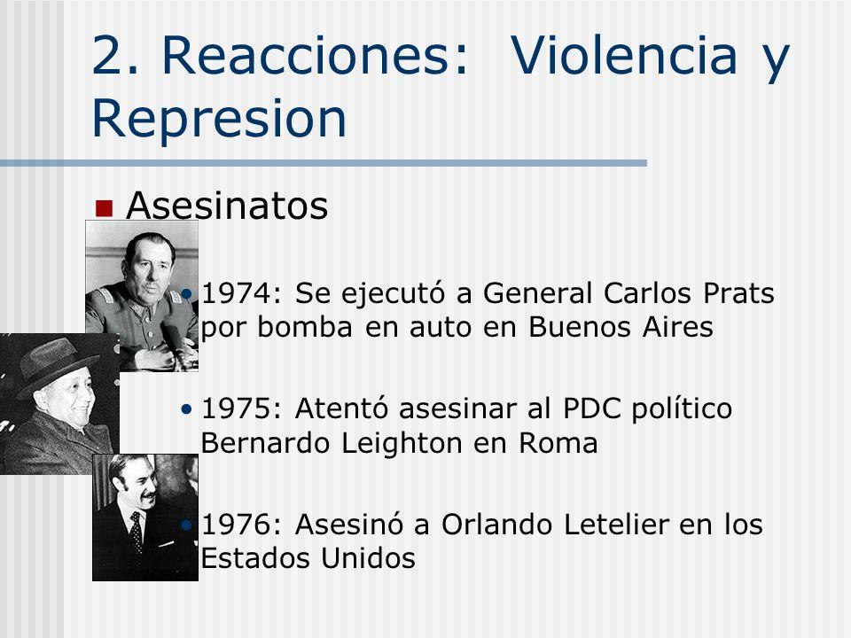 2. Reacciones: Violencia y Represion Policia Secreta La DINA, Dirección de Inteligencia Nacional,Comandante Manuel Contreras Tortura Pinochet: Los mie