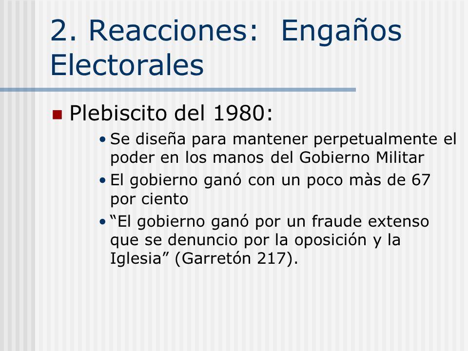 2. Reacciones: Éxito Económico Plebiscito del 1980 Protestas: Empezaba cuando hubo fracaso con la económica neoliberal