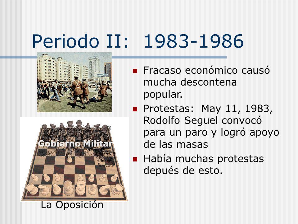 Periodo I: 1973-1983 Confusión: Los opositores no supieron lo que pensar del gobierno militar ni cómo oponer Plebiscito de 1980 la oposición todavía f