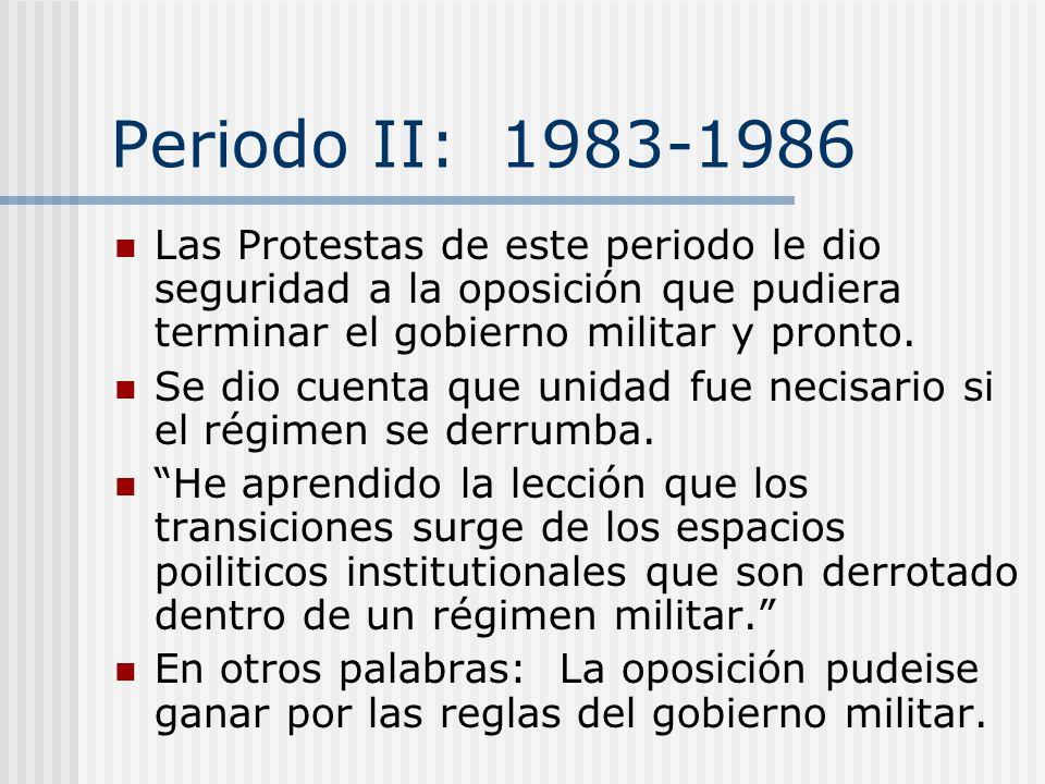 Periodo II: 1983-1986 Fracaso económico causó mucha descontena popular. Protestas: May 11, 1983, Rodolfo Seguel convocó para un paro y logró apoyo de