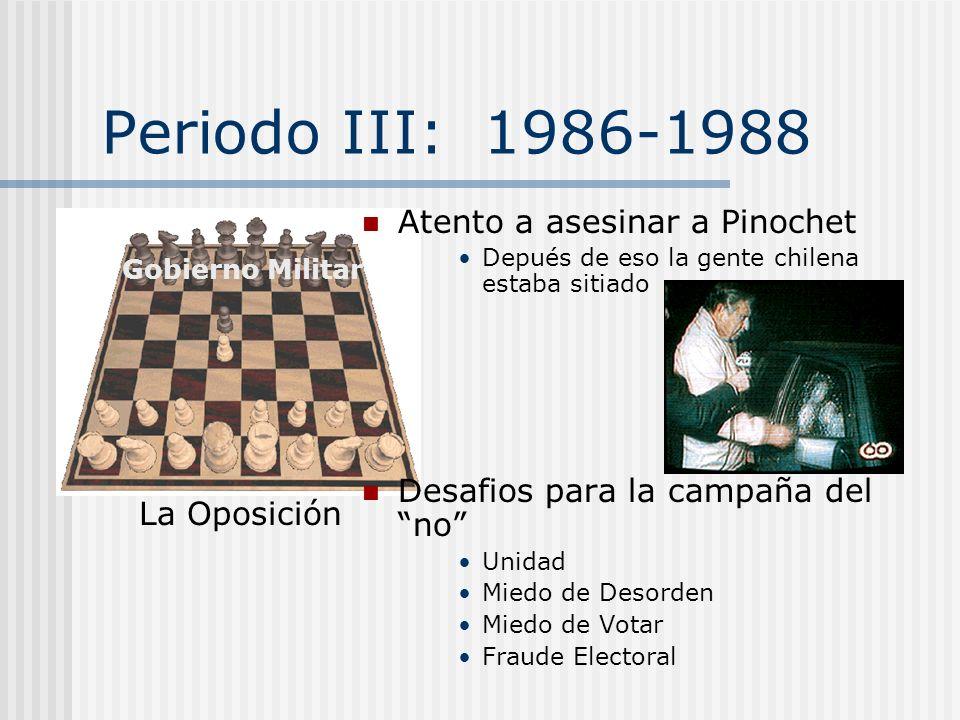 Periodo II: 1983-1986 Las Protestas de este periodo le dio seguridad a la oposición que pudiera terminar el gobierno militar y pronto. Se dio cuenta q