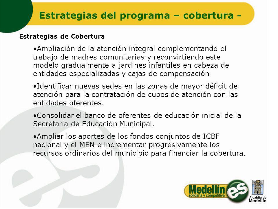 Estrategias de Cobertura Ampliación de la atención integral complementando el trabajo de madres comunitarias y reconvirtiendo este modelo gradualmente