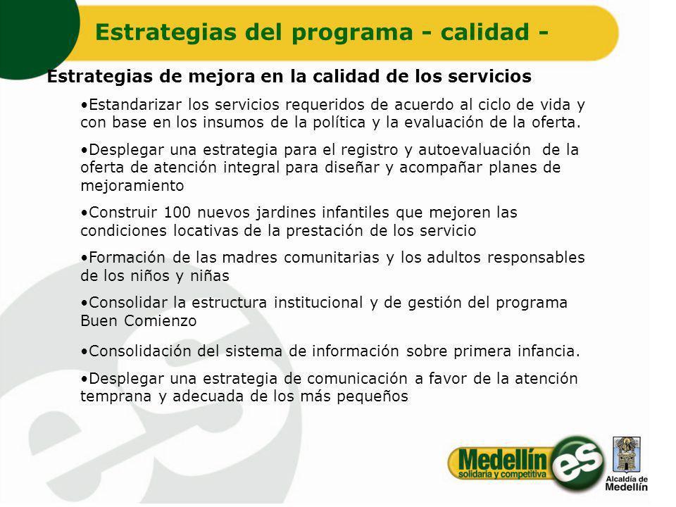 Estrategias de mejora en la calidad de los servicios Estandarizar los servicios requeridos de acuerdo al ciclo de vida y con base en los insumos de la