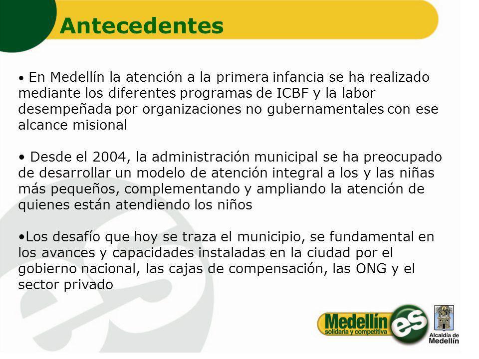 En Medellín la atención a la primera infancia se ha realizado mediante los diferentes programas de ICBF y la labor desempeñada por organizaciones no g