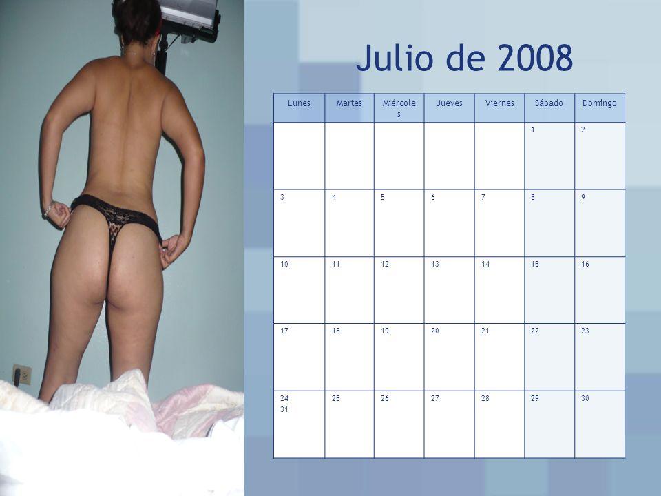 Julio de 2008 LunesMartesMiércole s JuevesViernesSábadoDomingo 12 3456789 10111213141516 17181920212223 24 31 252627282930
