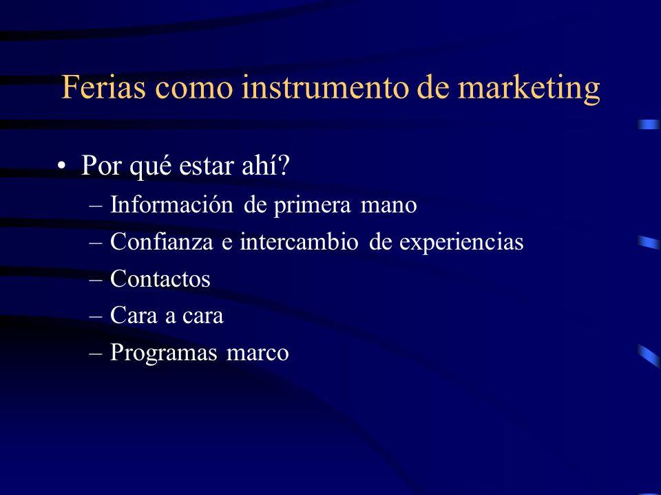 Ferias como instrumento de marketing Por qué estar ahí? –Información de primera mano –Confianza e intercambio de experiencias –Contactos –Cara a cara
