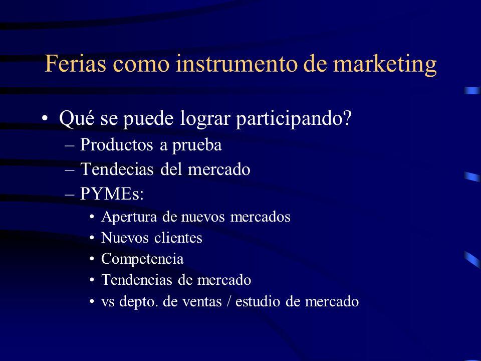 Ferias como instrumento de marketing Qué se puede lograr participando? –Productos a prueba –Tendecias del mercado –PYMEs: Apertura de nuevos mercados