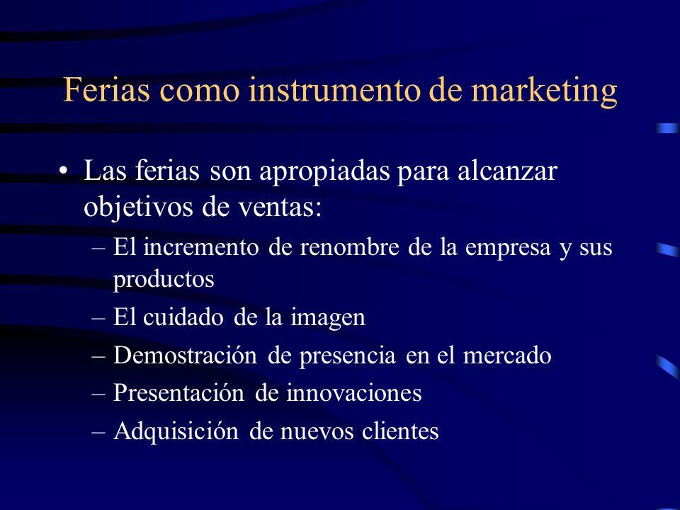 Ferias como instrumento de marketing Las ferias son apropiadas para alcanzar objetivos de ventas: –El incremento de renombre de la empresa y sus productos –El cuidado de la imagen –Demostración de presencia en el mercado –Presentación de innovaciones –Adquisición de nuevos clientes