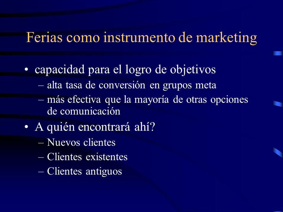 Ferias como instrumento de marketing capacidad para el logro de objetivos –alta tasa de conversión en grupos meta –más efectiva que la mayoría de otras opciones de comunicación A quién encontrará ahí.