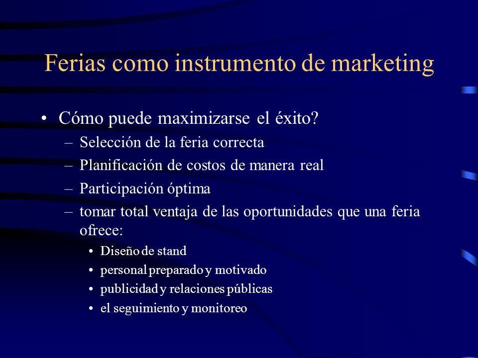 Ferias como instrumento de marketing Cómo puede maximizarse el éxito? –Selección de la feria correcta –Planificación de costos de manera real –Partici