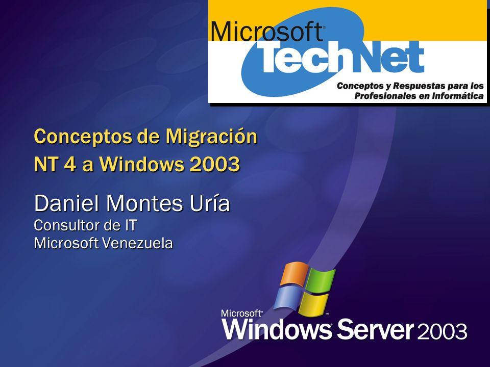 Actualizando desde NT 4.0 Paso a Paso 1.Inventario de clientes por compatibilidad con las definiciones de seguridad por defecto Instalar software (dsclient, SP) o definiciones laxas 2.Inventario de controladores de dominio en el dominio Hot fixes Recomendado: SP6a DC hardware: Espacio en Disco, CPU, memoria Salud del DC incluyendo replicación y el servicio de replicación Imrepl 3.Revise los servicior que se están ejecutando como Local System en todos los servidores miembro y estaciones de trabajo Reconfigure el servicio para emplear una cuenta de usuario or Actualice el servidor a Windows 2000 / 2003, o Use Enable downlevel access en dcpromo e.j., RAS service