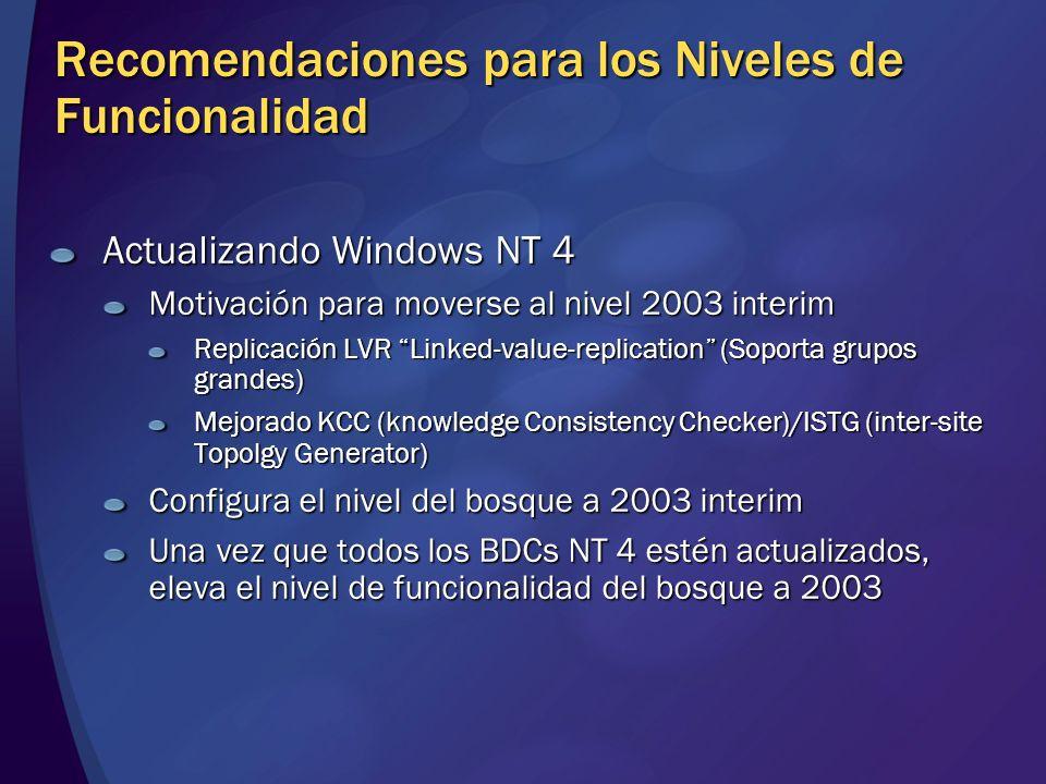 Recomendaciones para los Niveles de Funcionalidad Actualizando Windows NT 4 Motivación para moverse al nivel 2003 interim Replicación LVR Linked-value