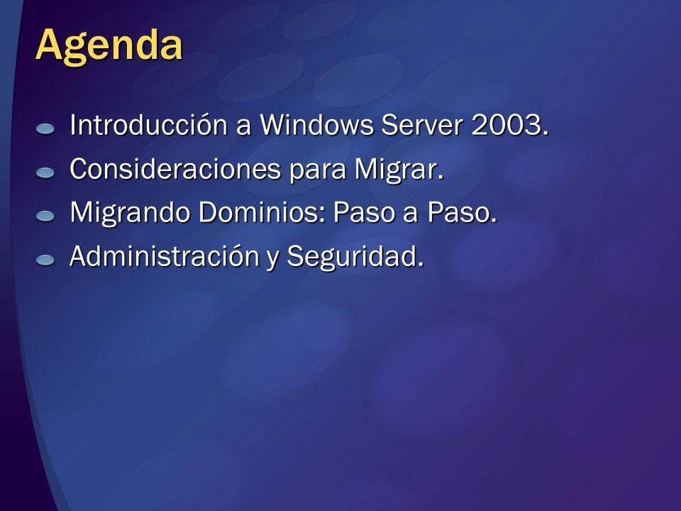 Agenda Introducción a Windows Server 2003. Consideraciones para Migrar. Migrando Dominios: Paso a Paso. Administración y Seguridad.