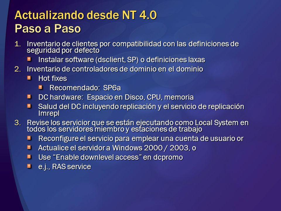 Actualizando desde NT 4.0 Paso a Paso 1.Inventario de clientes por compatibilidad con las definiciones de seguridad por defecto Instalar software (dsc