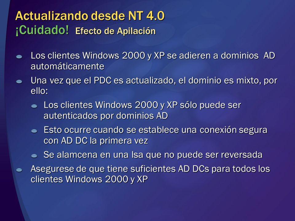 Actualizando desde NT 4.0 ¡Cuidado! Efecto de Apilación Los clientes Windows 2000 y XP se adieren a dominios AD automáticamente Una vez que el PDC es