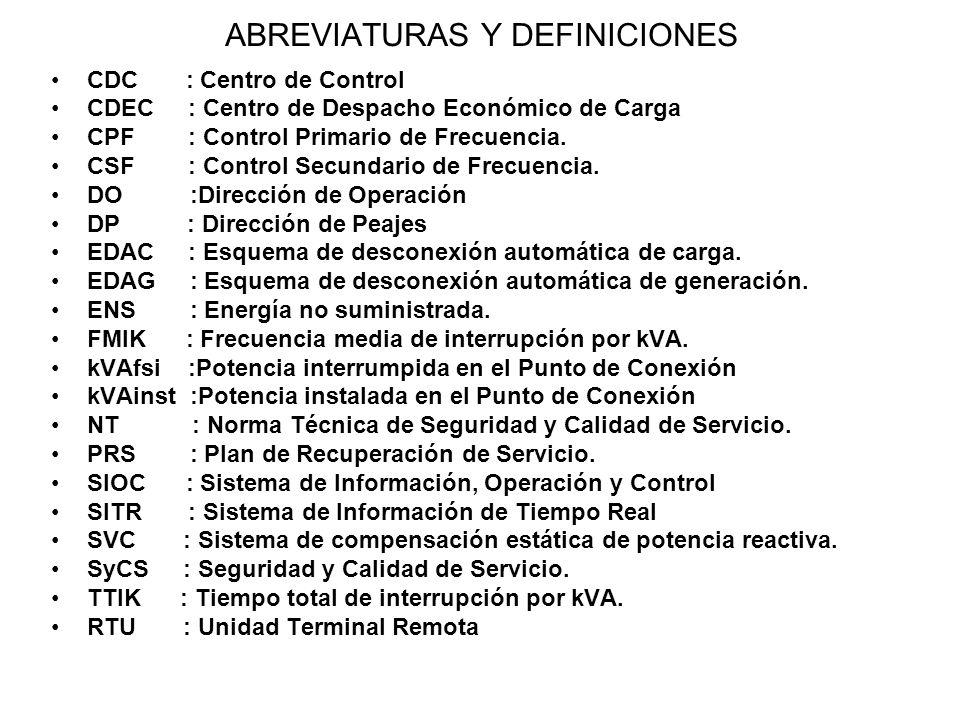 Los reportes tendrán el siguiente formato y serán enviados al CDEC una vez ocurrida una contingencia o falla.