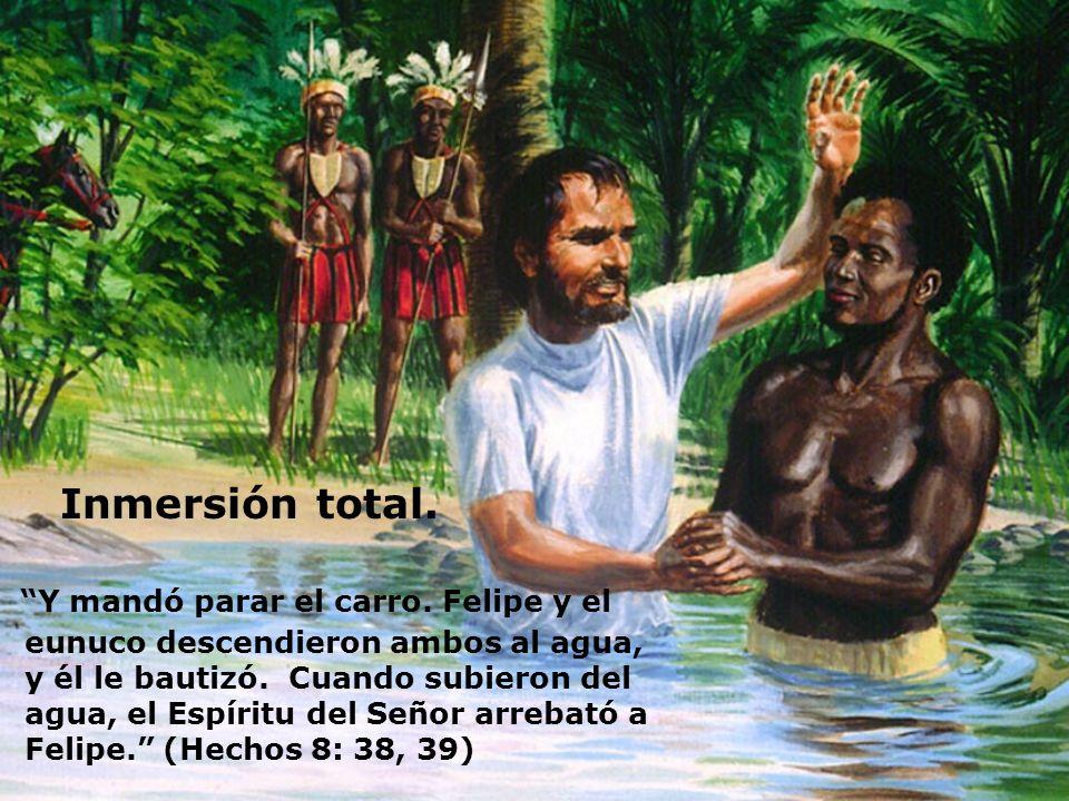 Inmersión total. Y mandó parar el carro. Felipe y el eunuco descendieron ambos al agua, y él le bautizó. Cuando subieron del agua, el Espíritu del Señ