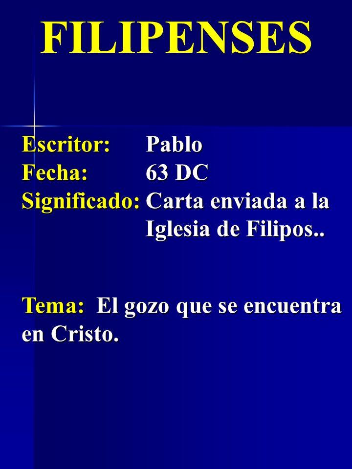 FILIPENSES Escritor:Pablo Fecha:63 DC Significado:Carta enviada a la Iglesia de Filipos.. Tema: El gozo que se encuentra en Cristo.