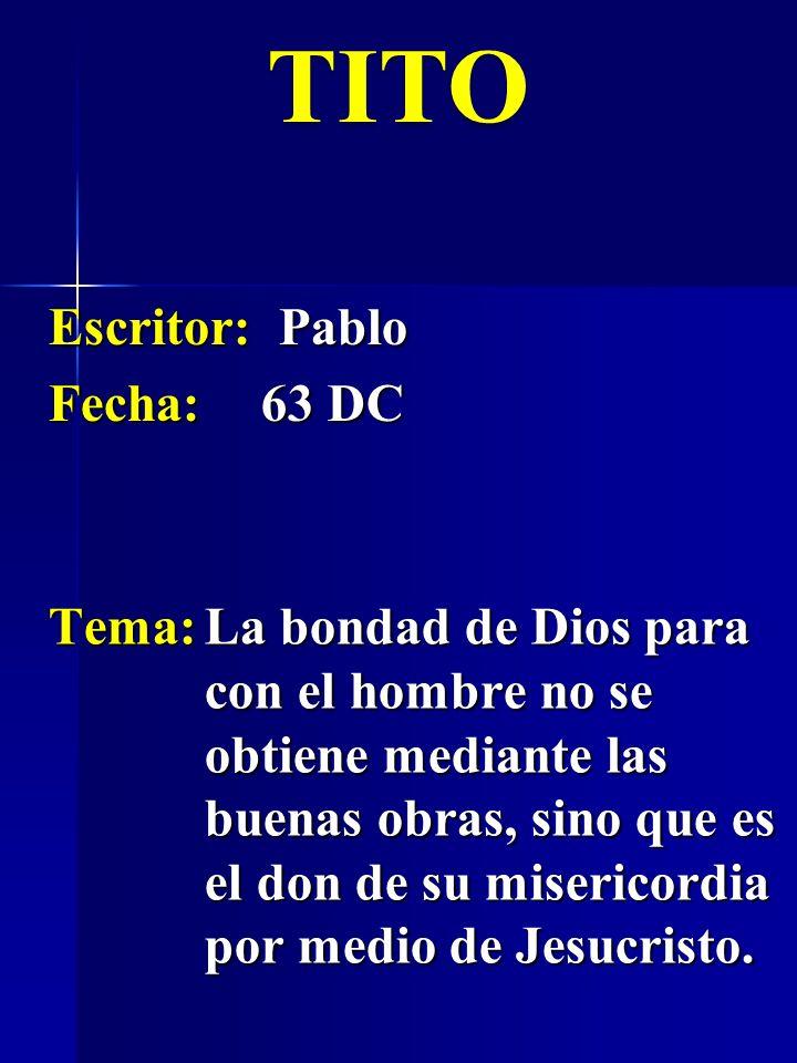 Escritor: Pablo Fecha:63 DC TITO Tema:La bondad de Dios para con el hombre no se obtiene mediante las buenas obras, sino que es el don de su misericor