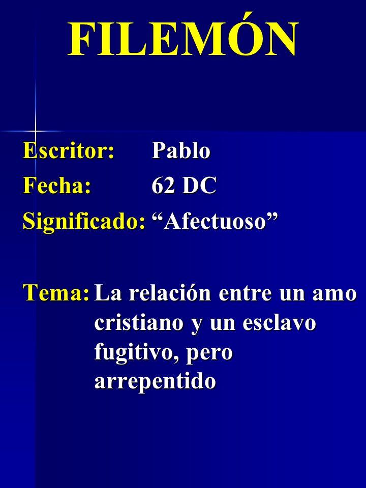 Escritor:Pablo Fecha:62 DC Significado:Afectuoso FILEMÓN Tema:La relación entre un amo cristiano y un esclavo fugitivo, pero arrepentido