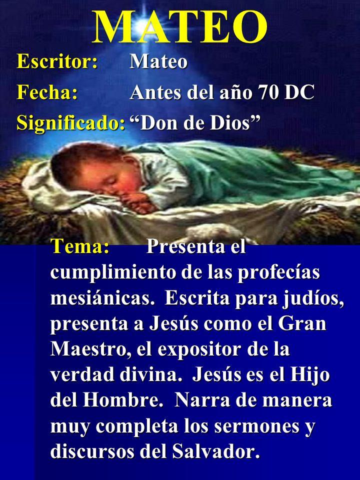 Tema:Enfoca la vida y obra de Cristo.